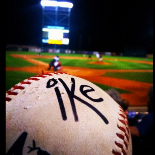 state college spikes foul ball behind home plate signed by ike the mascot minor league baseballstate