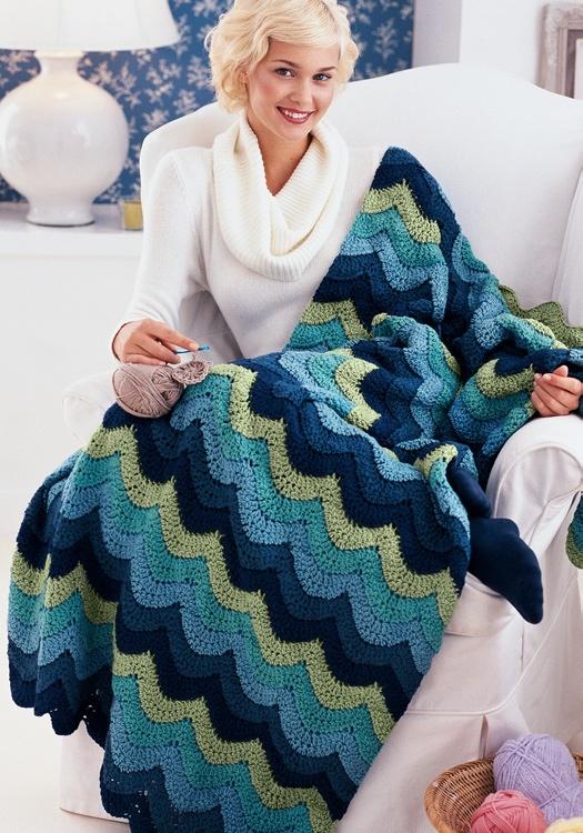 Crochet Ocean Waves Throw Blanket Pattern.