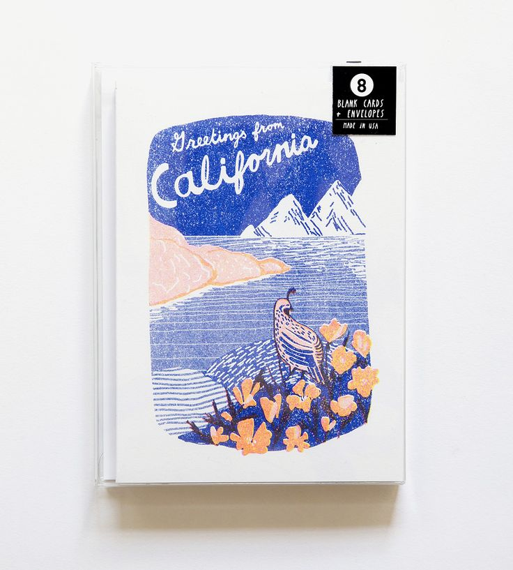 Greetings From California Risograph Note Cards, 8-Pack by Yellow Owl Workshop on Scoutmob