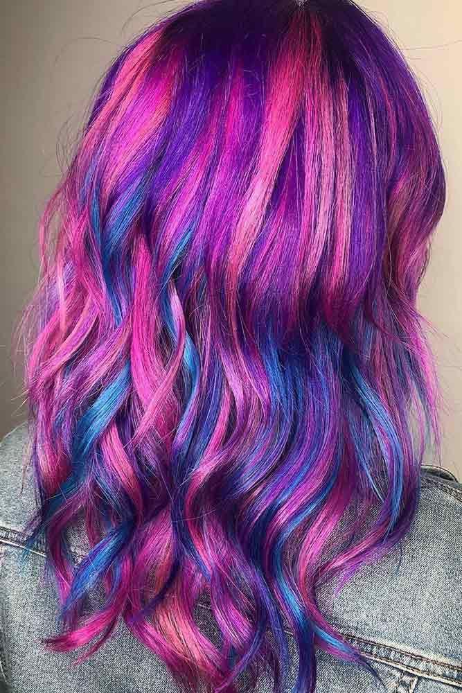 Blue Purple Streaked Dyed Hair Magenta Hair Hair Styles Rainbow Hair Color