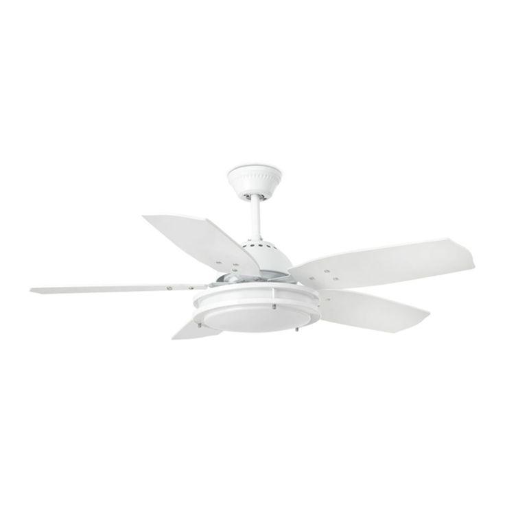 Ventilador de techo con luz blanco #ventiladores #decoracion #verano #climatizacion #calor #ventilacion #diseño #aire