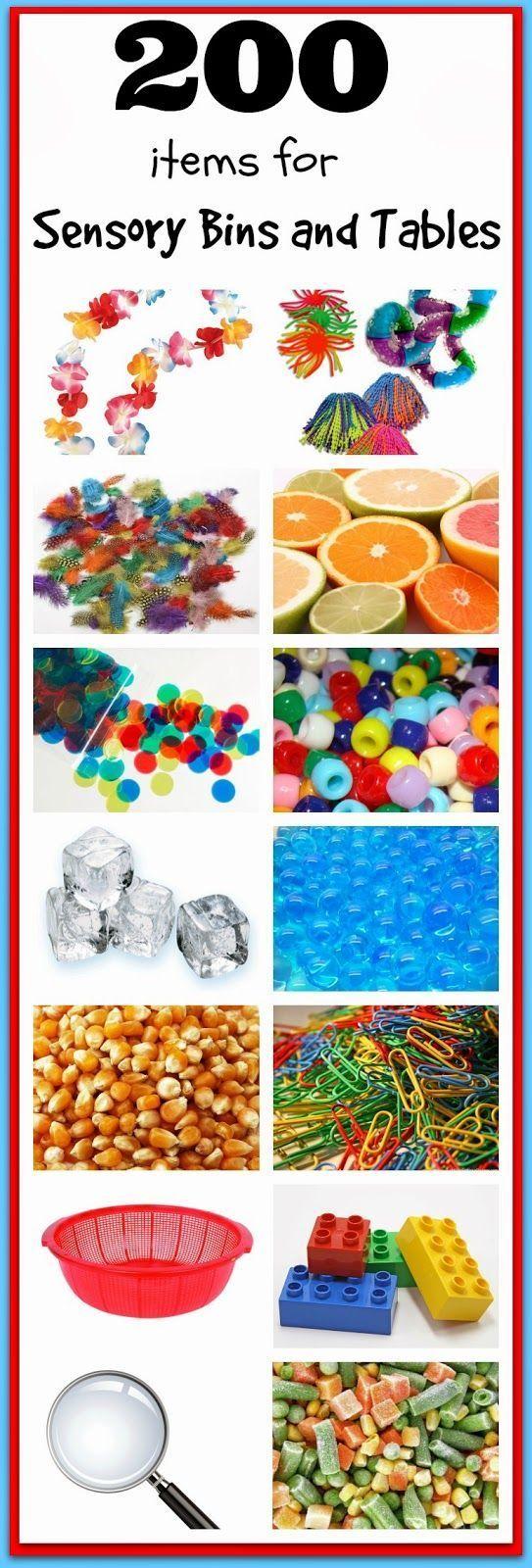 200 items for Sensory Bins and Sensory Tables!   The mega list of ideas for sensory play!!  Make hundreds of awesome sensory bins or sensory tables with this amazing list of ideas!!!