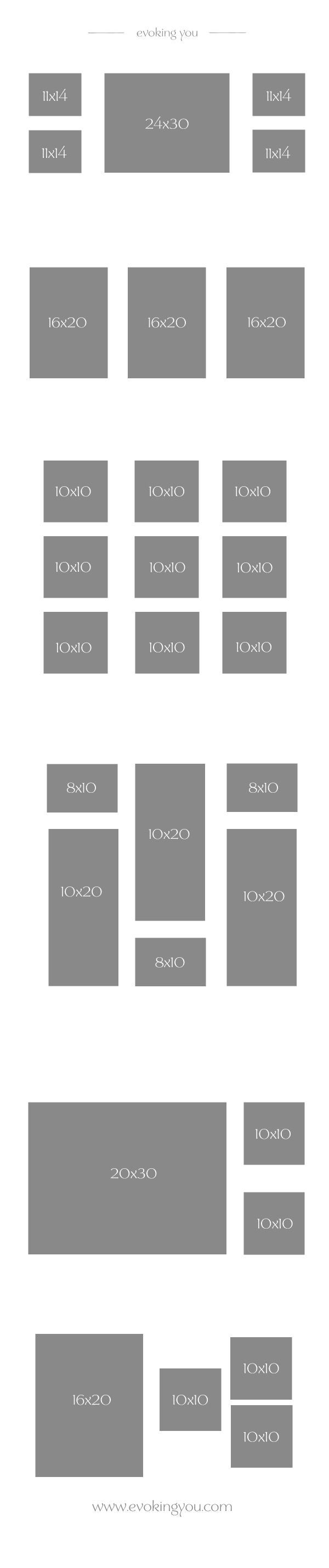 Display your portraits template frame ideas for wall for Canvas print arrangement ideas
