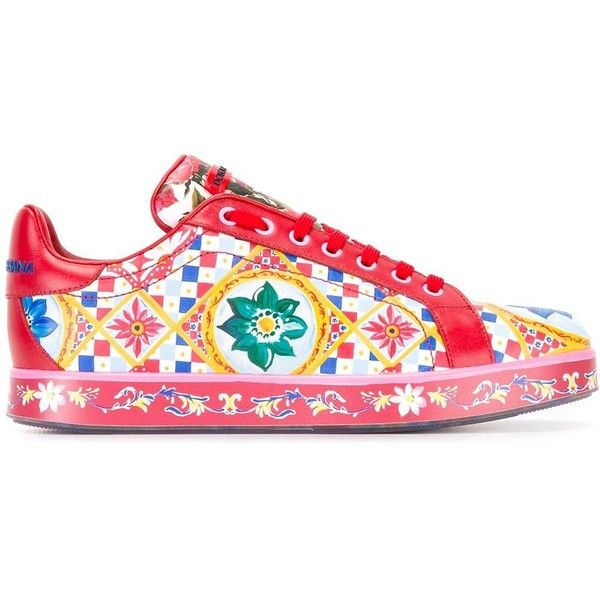 Dolce & Gabbana Mambo print sneakers ($875) ❤ liked on Polyvore featuring shoes, sneakers, rubber sole shoes, leather lace up sneakers, leather lace up shoes, colorful shoes and summer shoes