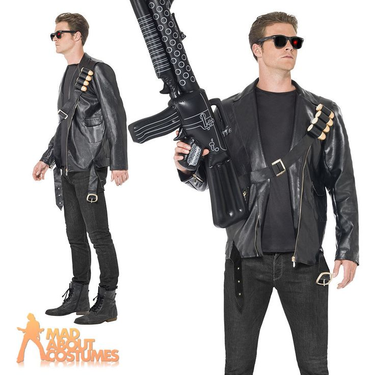 Terminator Costume Licensed Judgement Day Mens 1980s Fancy Dress Outfit New