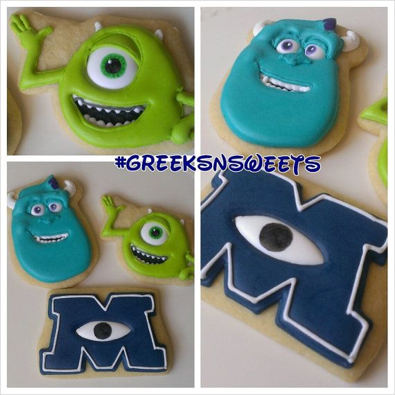 Monsters Inc Monster U with Mike and Sully and M logo Sugar Cookies....Greeks-N-Sweets