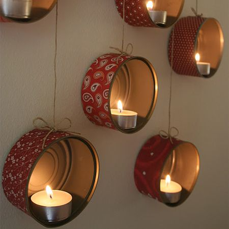 Thinking on making them with washi tape.. God we do eat a lot of tuna :p   Home-Dzine - Recycled tins for amazing candle holder