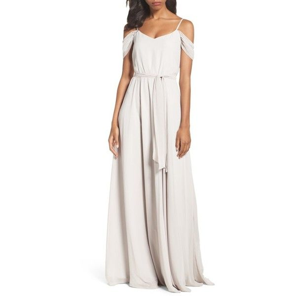 Women's Ceremony By Joanna August Off The Shoulder Gown ($295) ❤ liked on Polyvore featuring dresses, gowns, bohemian rhapsody, white boho dress, off the shoulder evening gown, white evening gowns, boho dresses and white bohemian dress