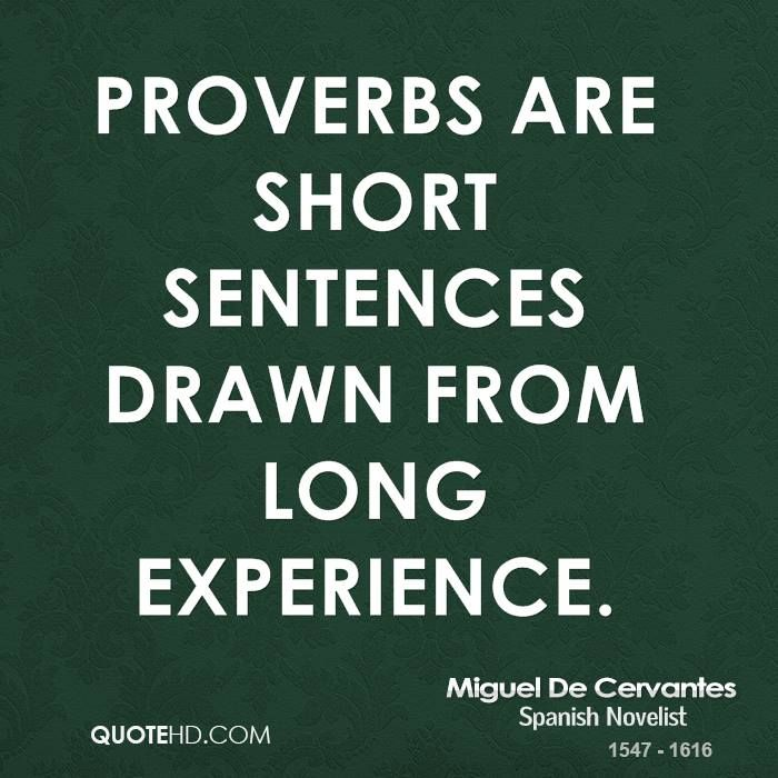 A long experience = A short proverb!