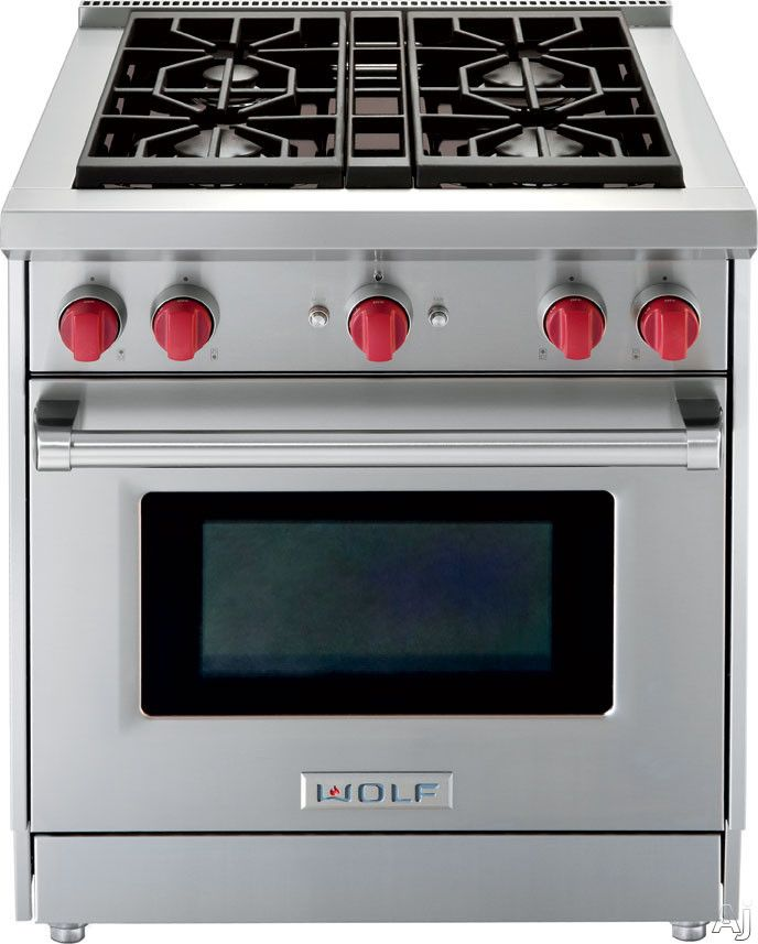 "Wolf GR304X 30"" Pro-Style Gas Range with 4 Dual-Stacked Sealed Burners, 4.4 cu. ft. Convection Oven, Infrared Broiler, Red Control Knobs and Island Trim"