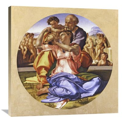 """Global Gallery 'Doni Tondo' by Michelangelo Painting Print on Wrapped Canvas Size: 36"""" H x 36"""" W x 1.5"""" D"""