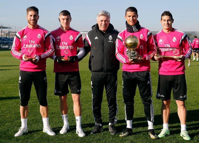 Sergio Ramos, Toni Kroos, Carlo Ancelotti, Cristiano Ronaldo, & James Rodriguez.