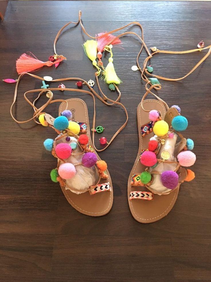 Pom Pom Sandalen 38 Gipsy Boho Schnürer Römersandale Hippie Sandale Schuhe in Kleidung & Accessoires, Damenschuhe, Halbschuhe & Ballerinas | eBay! 49,99 ebay