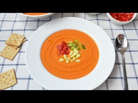 How to Make Gazpacho - Easy Spanish Cold Soup with Vegetables Recipe - YouTube