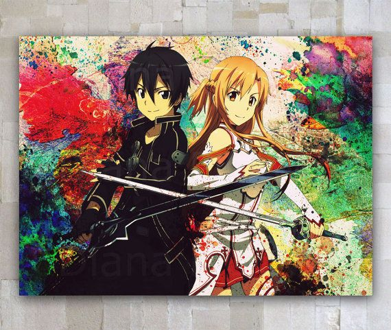 Hey, I found this really awesome Etsy listing at https://www.etsy.com/listing/215347981/asuna-kirito-sword-art-online-watercolor