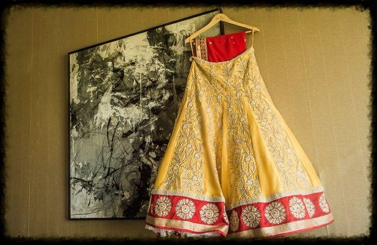 Chamee  Palak - Daffodil Yellow Silk Lehenga, customized for our Bride, Aini Karani.