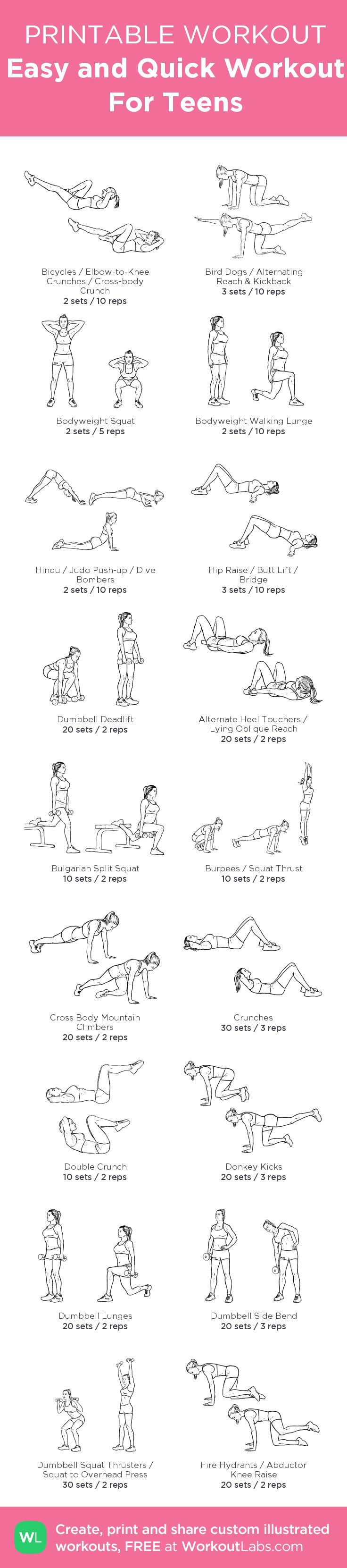 Easy and Quick Workout For Teens – my custom workout created at WorkoutLabs.com • Click through to download as printable PDF! #customworkout