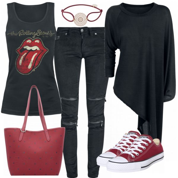 Freizeit Outfits: RollingStones bei FrauenOutfits.de #fashion #fashionista #mode #damenmode #frauenmode #frauenoutfit #damenoutfit #bekleidung #kleidung #frauen #style #inspiration #rolllingstones #rockig #rock #rockstar #metall
