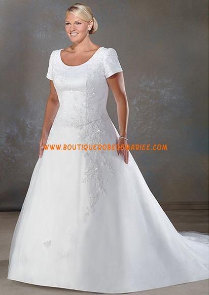 Robe de mariée grande taille avec courtes manches