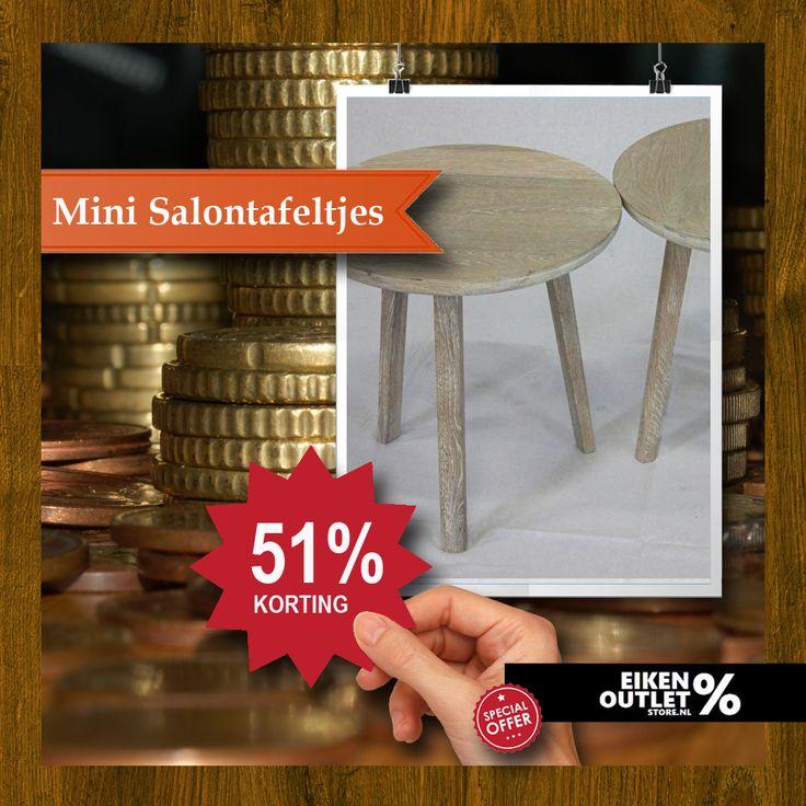 Geen grap: per 1 april minder salaris, alle veranderingen die nog gaan komen blijft koffiedik kijken, uiteindelijk gaat iedereen er over dit jaar op vooruit, maar we moeten op de kleintjes blijven letten;  Mini Salontafeltjes, met meer dan 50% korting , afwerking Old look met Super White, prijs per stuk: € 135,00 http://www.eikenoutletstore.nl/a-43677726/tafels/mini-salontafeltjes/ in de eiken OUTLET store!