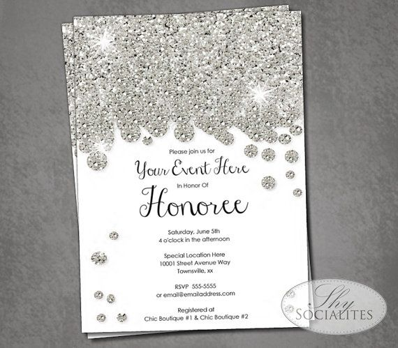 Silver Glitter Diamonds Invitation | Silvery, Glittery, Sparkle, Jewel, Bridal Shower, Wedding, Formal, Black Tie | Instant Download