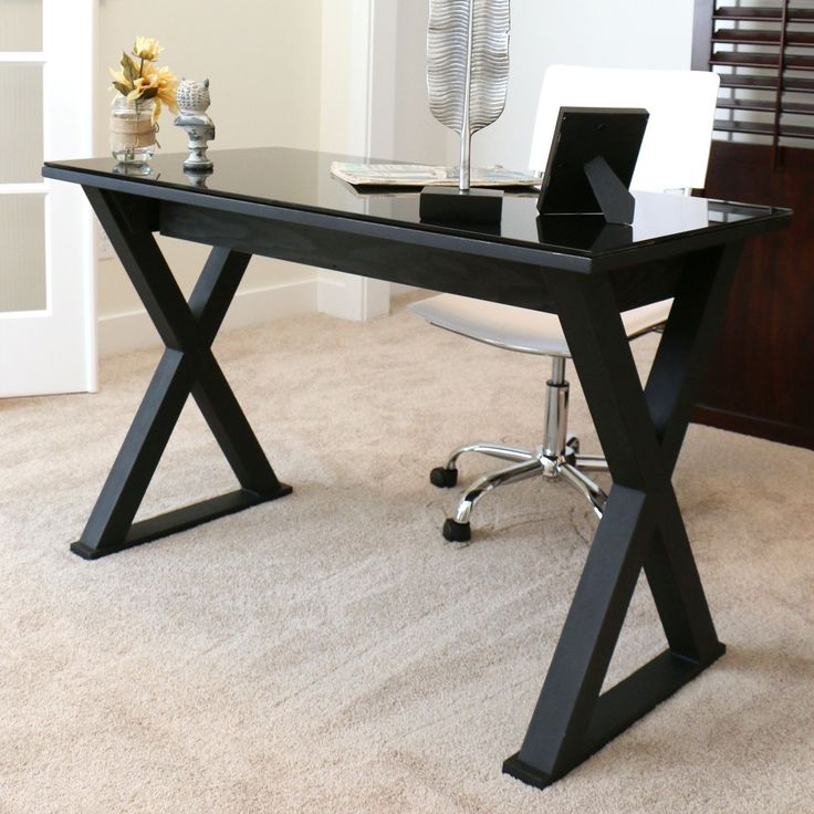 Wood Desk With Glass Top Part - 19: 48-inch Black Glass Computer Desk (48 In. Black Glass Metal Computer Desk),  Size Medium