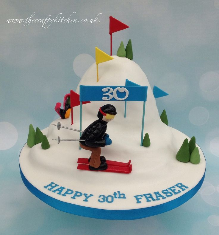 Skiing themed cake