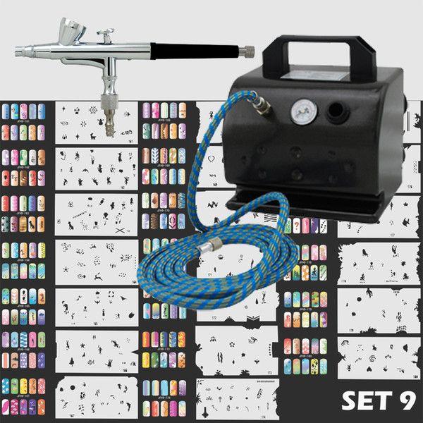 Sistema de aerógrafo de uñas de precisión con TC-50 Compresor de aire para clavo de arte Stencil Set (Set 9 con 300 diseños)