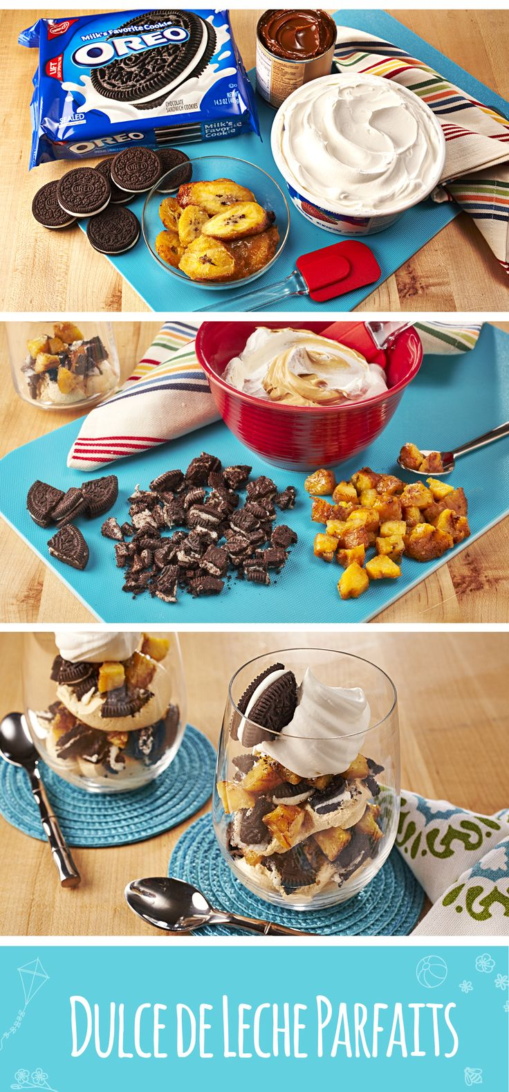 Nothing could be sweeter than the sonrisas on your kids' faces when they dig into this special postre for Día del Niño! Blend Mexican caramel spread (dulce de leche) and stir in whipped topping in a medium bowl. Cut and chop cookies and frozen ripe plantains (maduros). Layer 6 parfait glasses with half of each of the whipped topping mixture, chopped cookies and plantains. Repeat layers and top with remaining whipped topping. Garnish with quartered cookie pieces. #ad #ConMasSabor