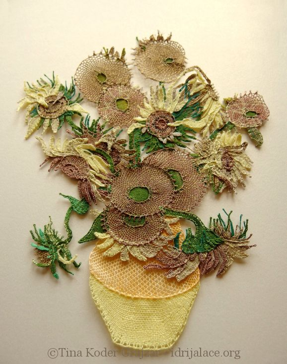 """Hand-made bobbin lace, made upon Van Gogh's """"Sunflowers""""."""