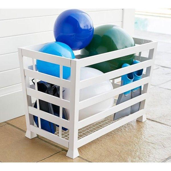 Pottery Barn Malibu Pool Accessory Storage Bin ($199) ❤ liked on Polyvore featuring home, home decor, small item storage, white storage bins, steel storage bins, storage bins, steel bin and white bin