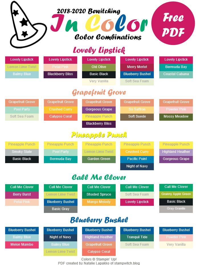 2018-2020 Stampin' Up In Color Color Guide by Natalie Lapakko