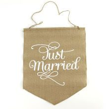 Celebrate It Occasions Burlap Signs, Just Married