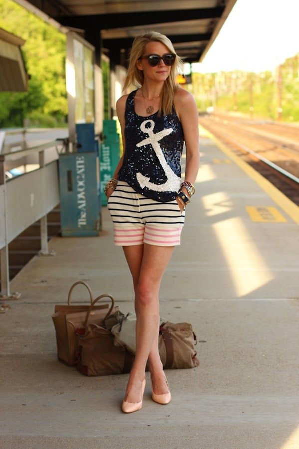 navy style: Fashion Statement, Style, Sequins, Summer Outfits, Shorts, Jcrew, Nautical Theme, Nautical Fashion, Anchors Shirts