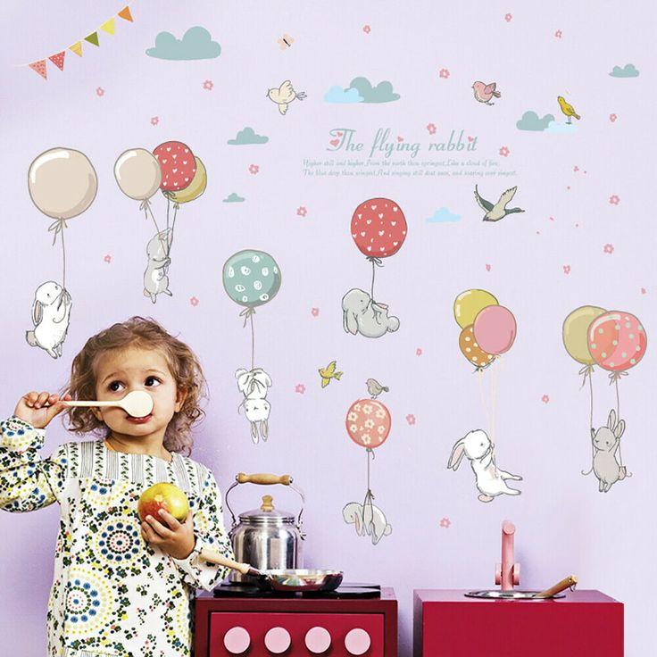 Rabbit Wall Sticker Decal For Nursery Kids Baby Girl Room Backdrop DIY Decor AU  | eBay