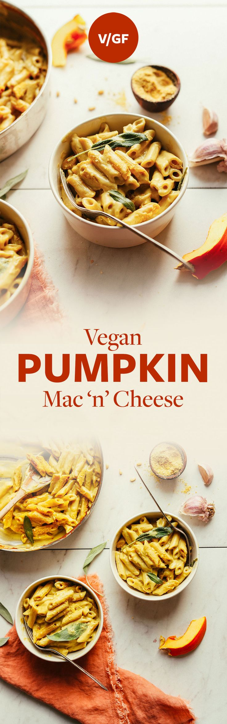 AMAZING Pumpkin Mac 'n' Cheese! 10 ingredients, cheesy, hearty, SO delicious! #vegan