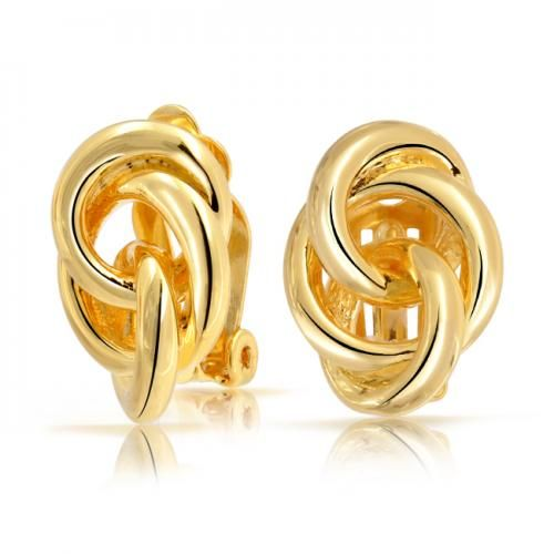 Gold Plated Open Triple Circle Love Knot Clip On Earrings