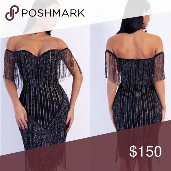 ELAGANT EVENING STRAPLESS DRESS BODYCON Black and silver sparkle elegant dress ..Stretchy material Dresses Strapless