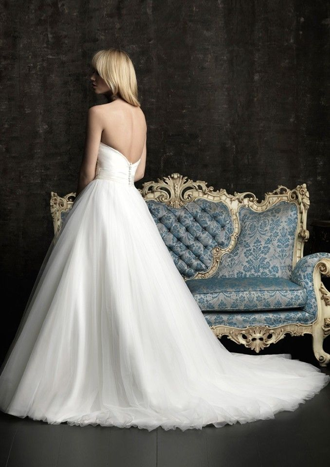 A-Line Strapless Ivory Bodice White Skirt Dropped Sweep Trailing Bridal Gowns