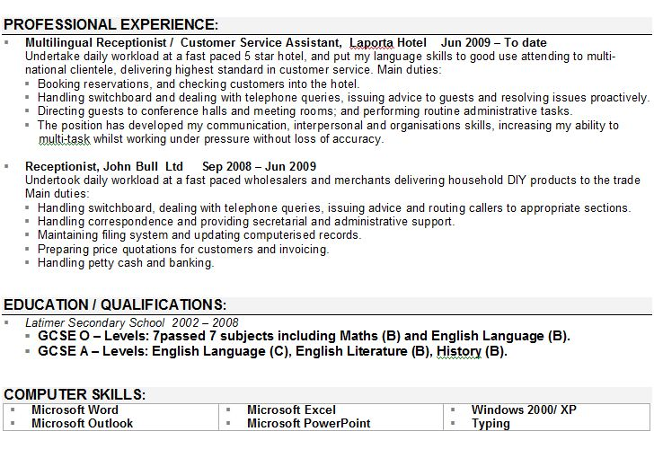 Cv Profile Examples Receptionist Resumepersonal Personal