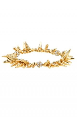 Silver or Gold Spike Pave Beaded Bracelet | Renegade Cluster Bracelet |