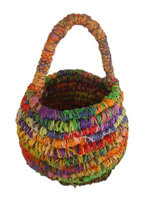 Basket by Mavis Ngallametta. Made from found fishing nets, raffia and marine rope.