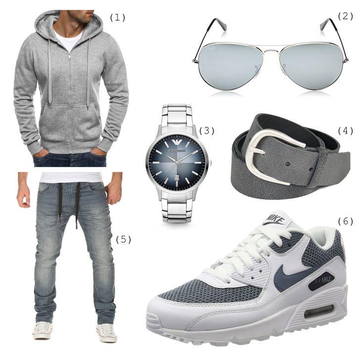 #outfits #outfitdestages #grau #rayban #emporioarmani #gürtel #jeans #nike #hoodie #mode #herren #männer #fashion