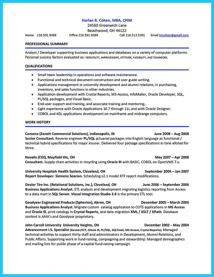 37 best ZM Sample Resumes images on Pinterest Sample resume - pl sql programmer sample resume