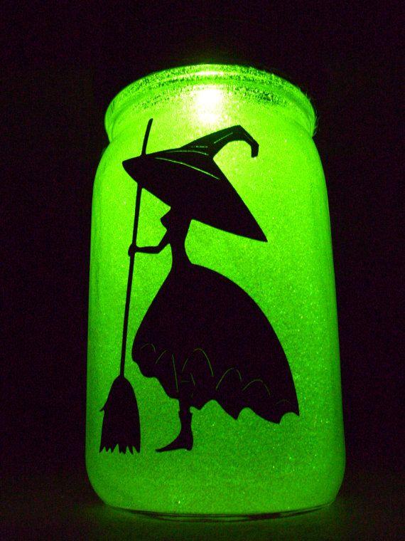 Solar Mason Jar Halloween Lime Green Glitter Witch Outdoor Solar Light Halloween Witch Solar Light  Colored Solar Holiday Lighting Kerr Jar