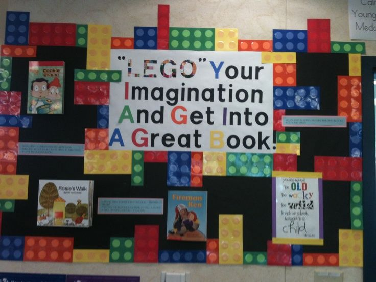 Library Bulletin Board Ideas | LEGO bulletin board for library. | library: display ideas