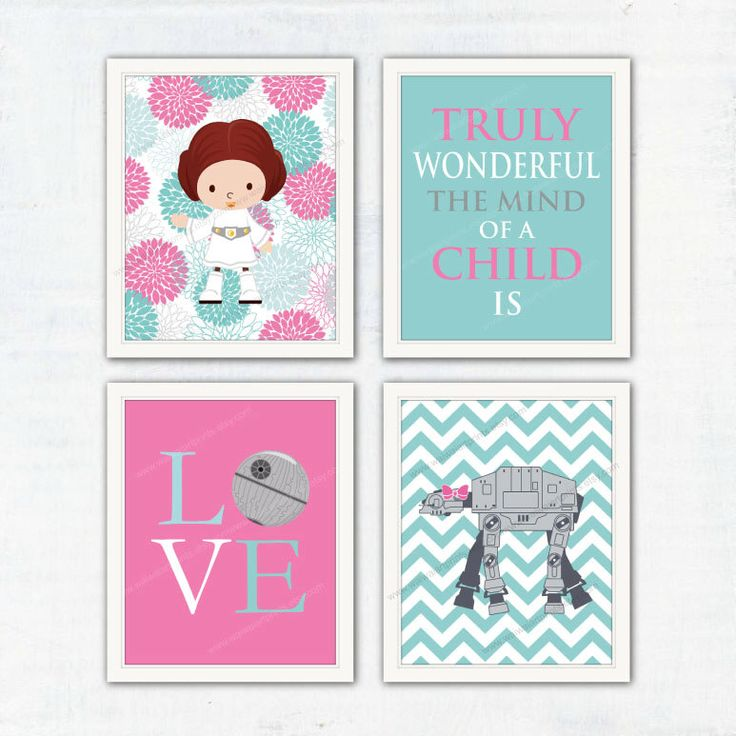 Nursery Art Print. Star Wars AT-AT Room Decor. Princess Leia. Girls Bedroom Decor. Gift for Girl. Children Playroom Decor. Item No.: 073 by waiwaiartprints on Etsy https://www.etsy.com/listing/250259685/nursery-art-print-star-wars-at-at-room