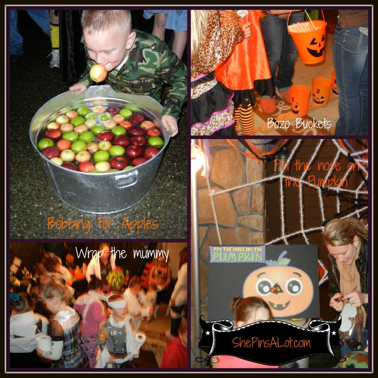 halloween kids party games bobbing for apples pin the nose on the pumpkin - Halloween Party Games Toddlers
