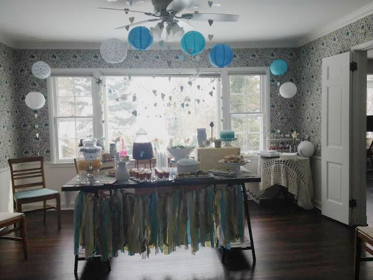 This shabby chic #babyboy shower is TO. DIE. FOR. Love the DIY heart garland and scrap fabric table banner!: Vintage Shabby Chic, Baby Shower Ideas, Heart Garlands, Baby Boy Shower, Shabby Chic Baby Boys Shower, Chic Babyboy, Chic Baby Showers, Babyboy Shower, Baby Shower