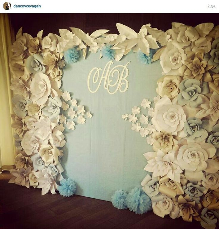 Paper flowers backdrop wedding paper backdrop for Backdrop decoration ideas